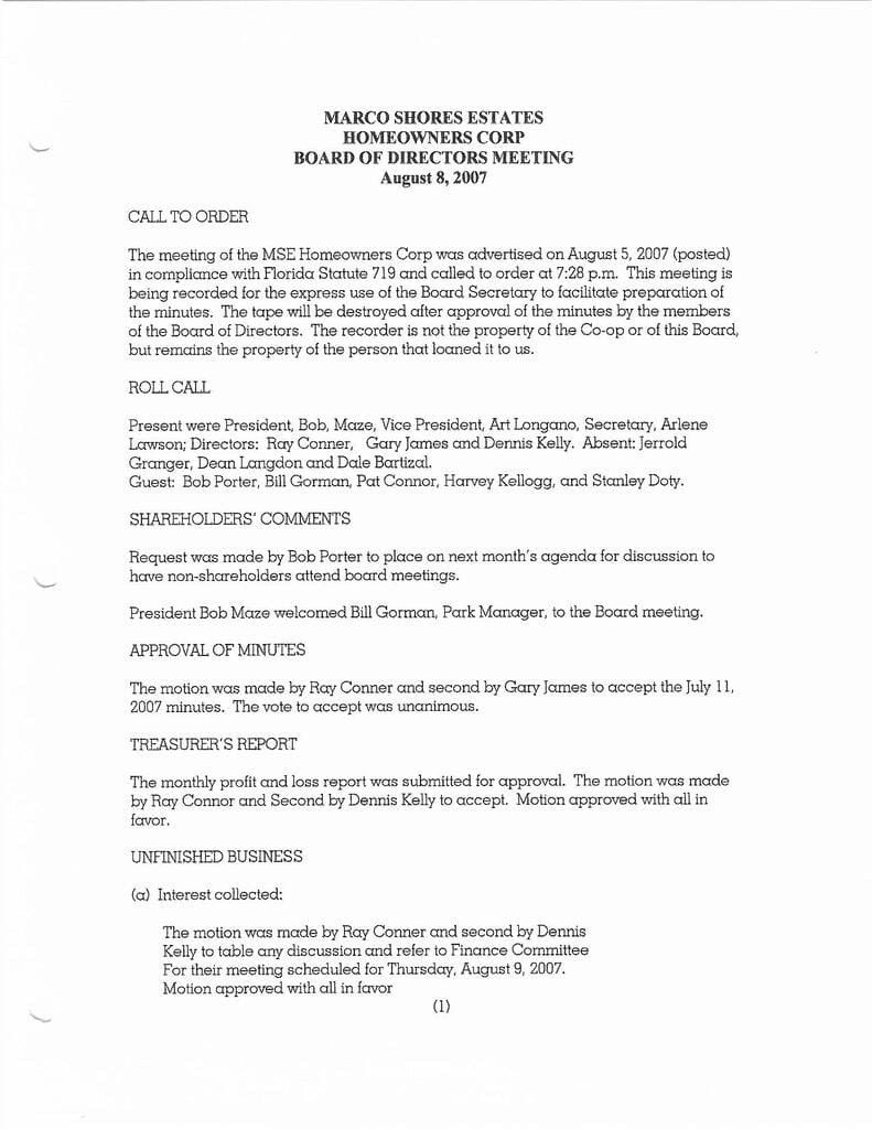 Board Minutes 8-8-2007 Page 1 Compressed