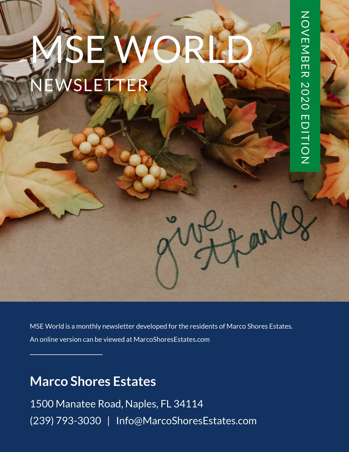 Marco Shores Estates - Active 55+ Community - MSE World November Edition